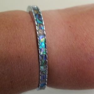 Bracelet mother of pearl and silver tone magnetic